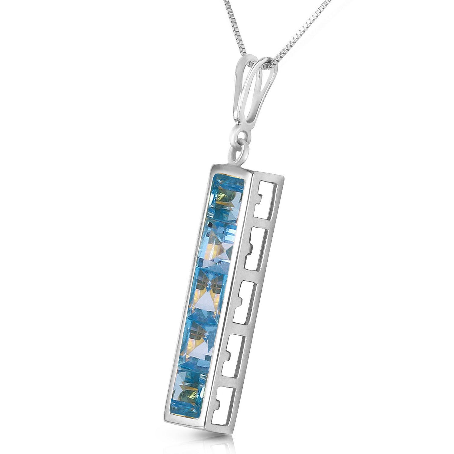 Blue Topaz Channel Set Pendant Necklace 2.25ctw in 9ct White Gold