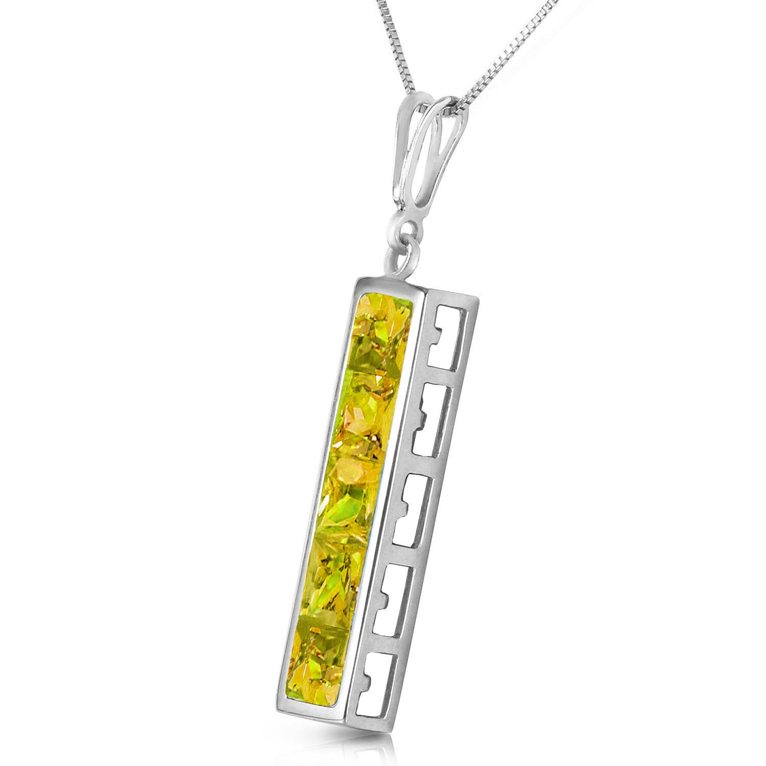 Peridot Channel Set Pendant Necklace 2.25ctw in 9ct White Gold