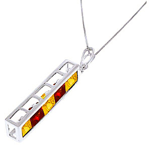 Citrine and Garnet Channel Set Pendant Necklace 2.25ctw in 9ct White Gold