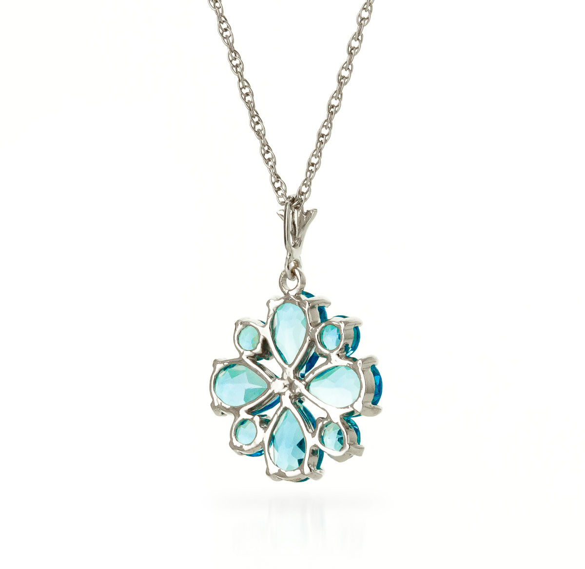 Blue Topaz Sunflower Pendant Necklace 2.43ctw in 9ct White Gold