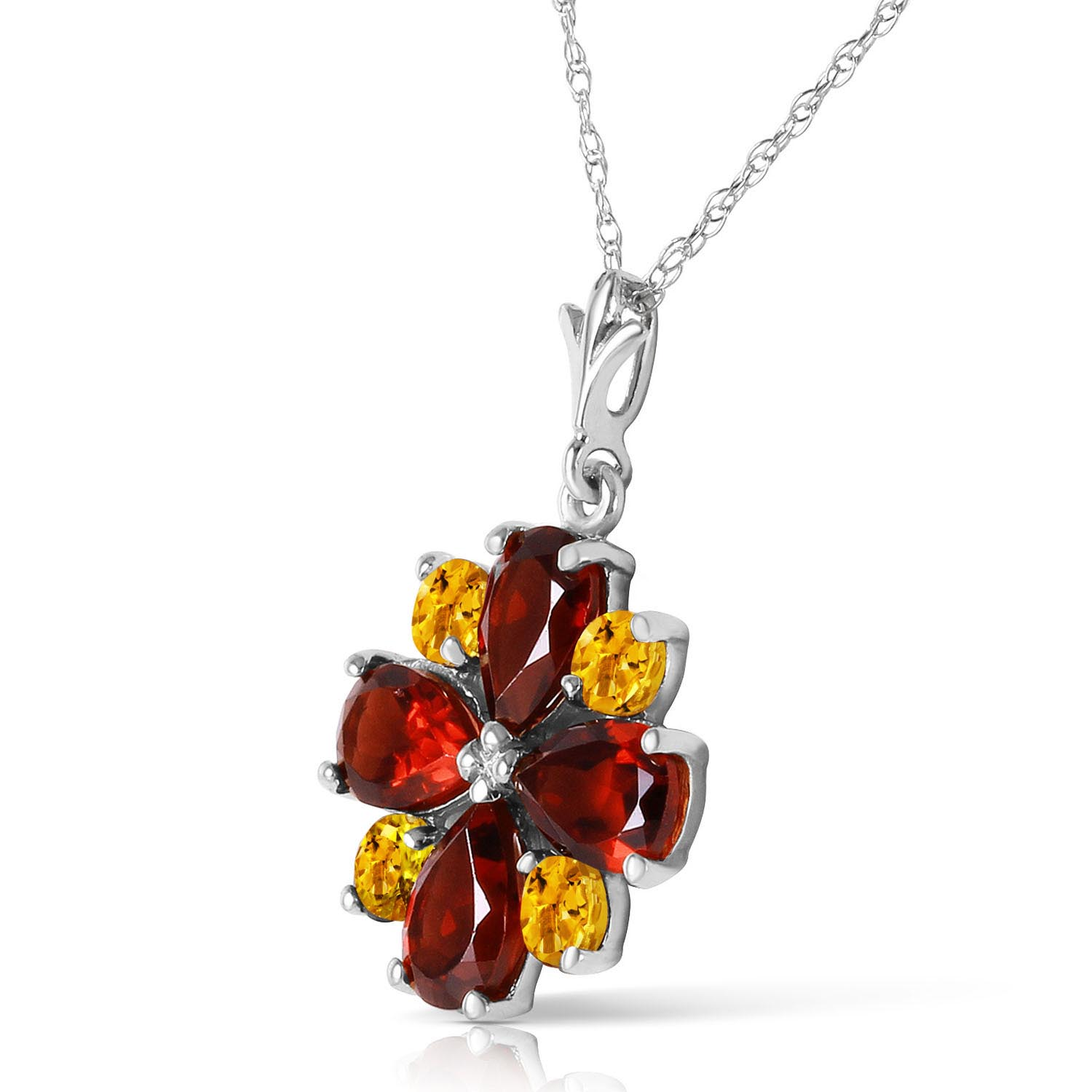 Garnet and Citrine Sunflower Pendant Necklace 2.43ctw in 9ct White Gold