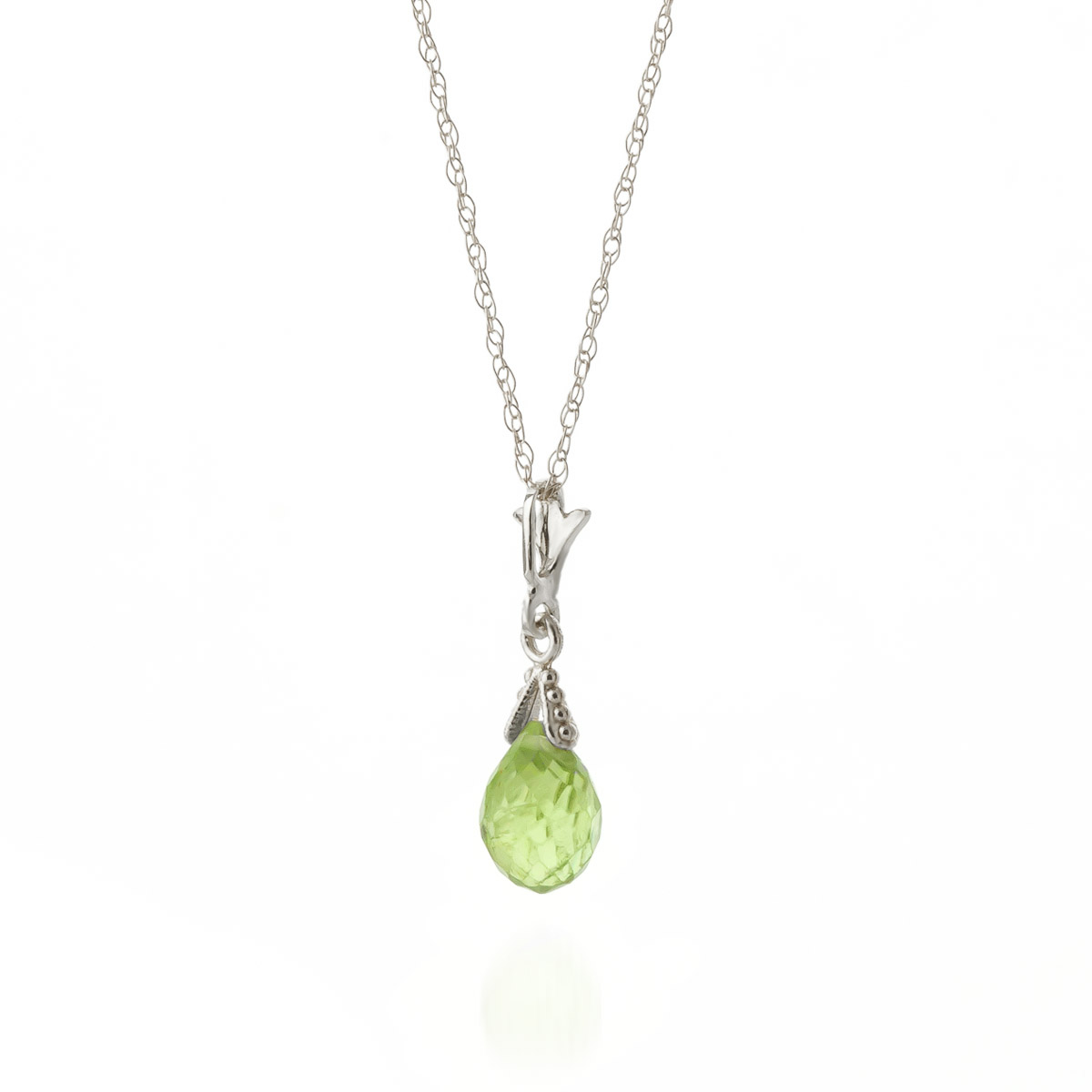 Peridot Droplet Briolette Pendant Necklace 2.5ct in 9ct White Gold