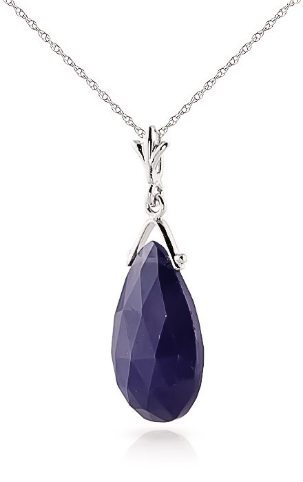 Sapphire Droplet Briolette Pendant Necklace 7.8ct in 9ct White Gold