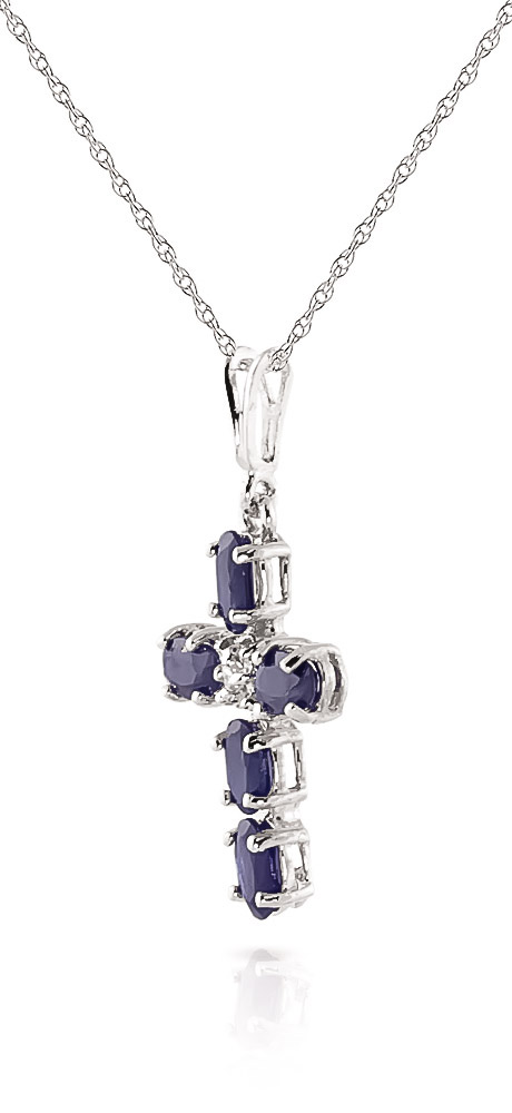Sapphire and Diamond Rio Cross Pendant Necklace 1.73ctw in 9ct White Gold