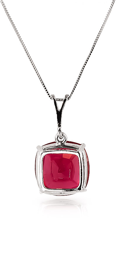 Ruby Rococo Pendant Necklace 4.7ct in 9ct White Gold
