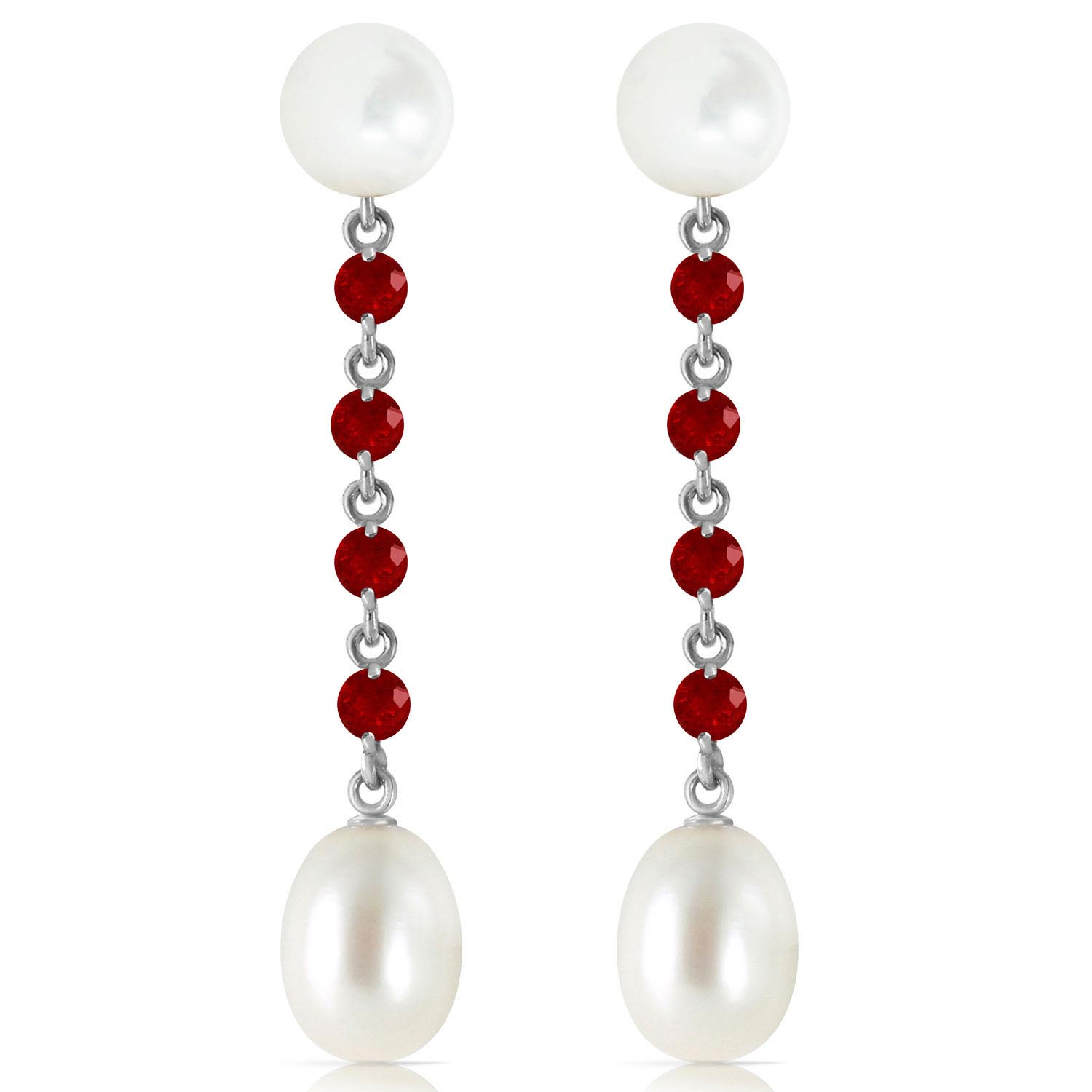 Pearl and Ruby by the Yard Drop Earrings 11.0ctw in 9ct White Gold