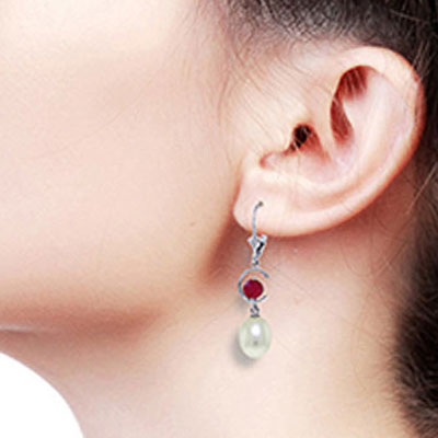 Pearl and Ruby Drop Earrings 9.0ctw in 9ct White Gold