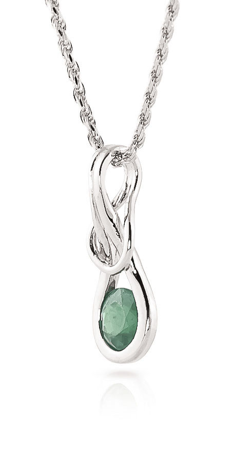 Emerald San Francisco Pendant Necklace 0.65ct in 9ct White Gold