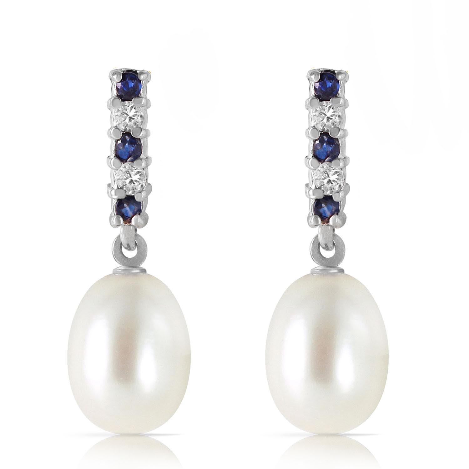 Pearl, Sapphire and Diamond Stud Earrings 8.24ctw in 9ct White Gold