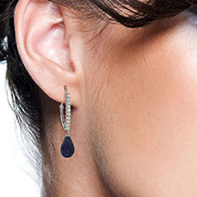 Diamond and Sapphire Laced Stem Drop Earrings in 9ct White Gold