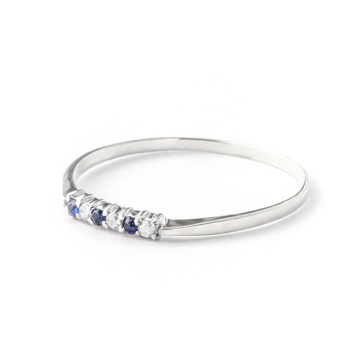 Diamond and Sapphire Ring in 9ct White Gold