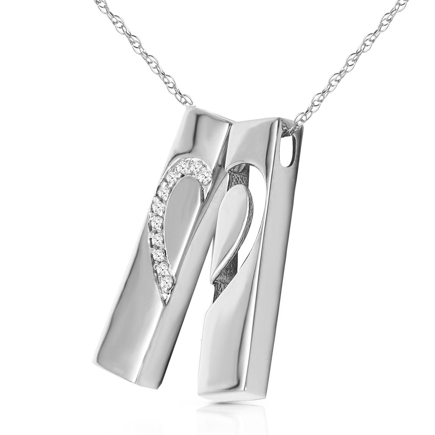 Diamond Split Heart Pendant Necklace in 14K White Gold 5491W