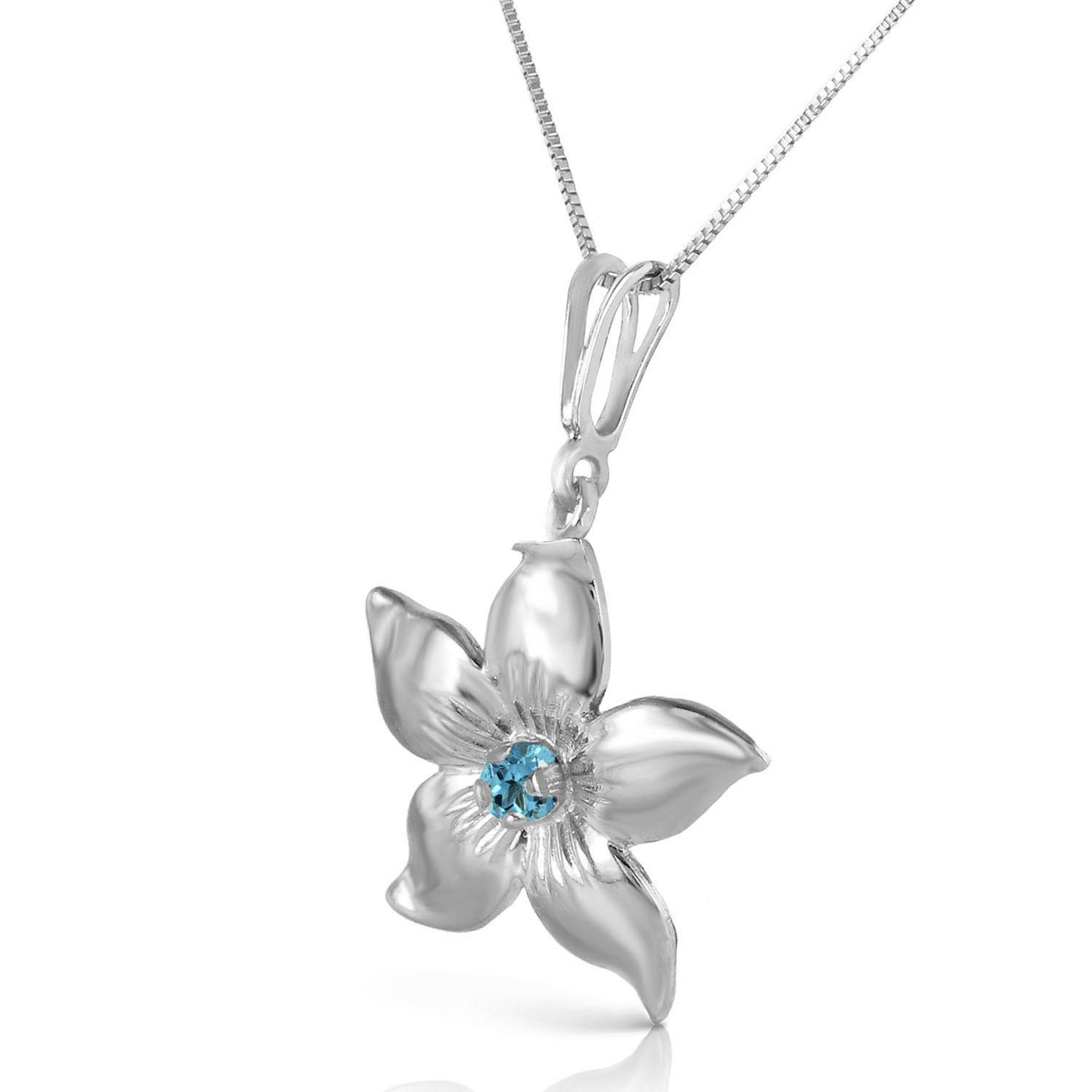 Blue Topaz Flower Star Pendant Necklace 0.1ct in 9ct White Gold