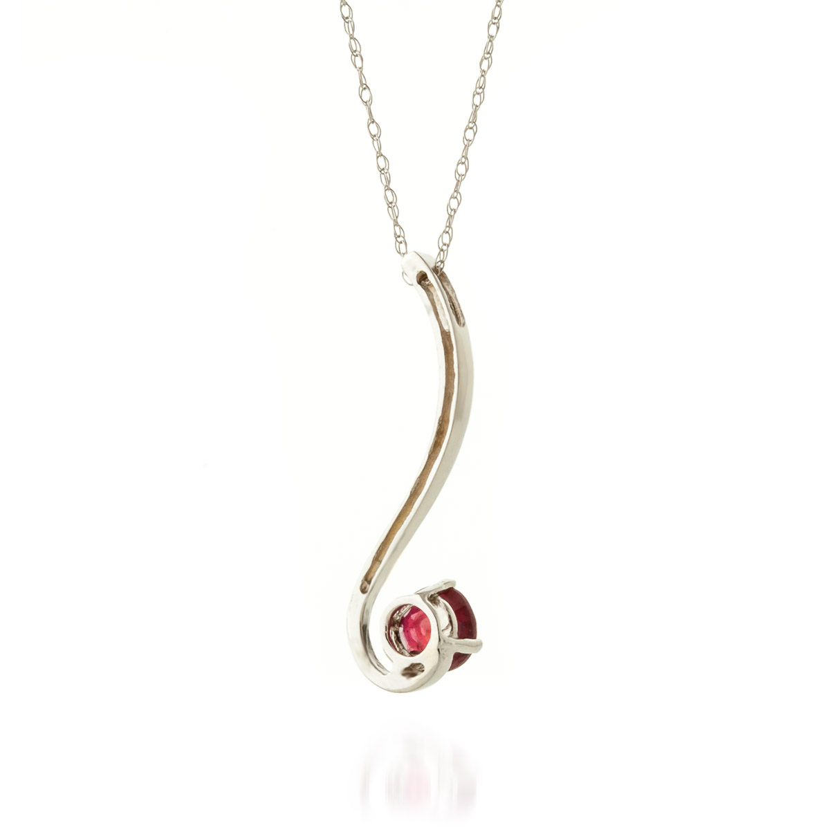 Round Brilliant Cut Ruby Pendant Necklace 0.55ct in 9ct White Gold