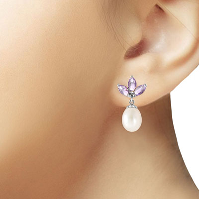Pearl and Tanzanite Petal Drop Earrings 9.5ctw in 9ct White Gold