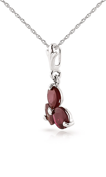Ruby Trinity Pendant Necklace 0.75ctw in 9ct White Gold