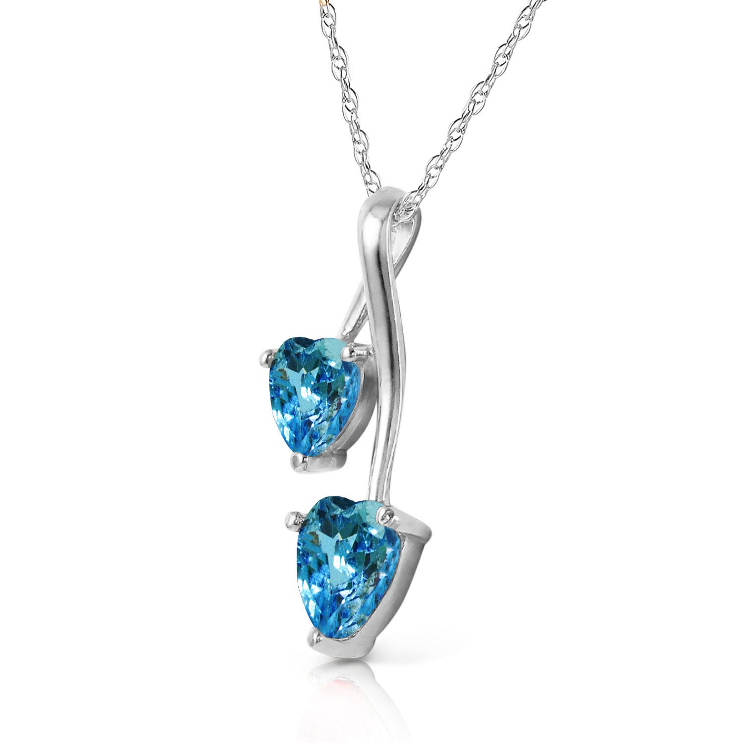 Blue Topaz Twin Heart Pendant Necklace 1.4ctw in 9ct White Gold