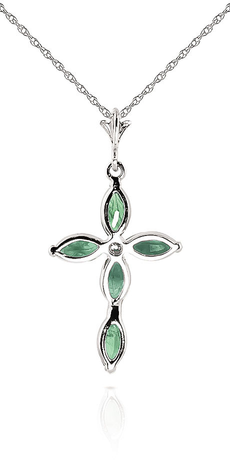 Emerald and Diamond Vatican Cross Pendant Necklace 1.5ctw in 9ct White Gold
