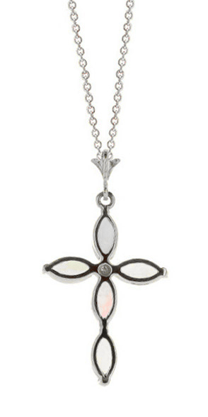 Opal and Diamond Vatican Cross Pendant Necklace 0.67ctw in 9ct White Gold