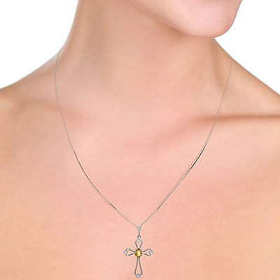Citrine and Diamond Venetian Cross Pendant Necklace 0.45ct in 9ct White Gold