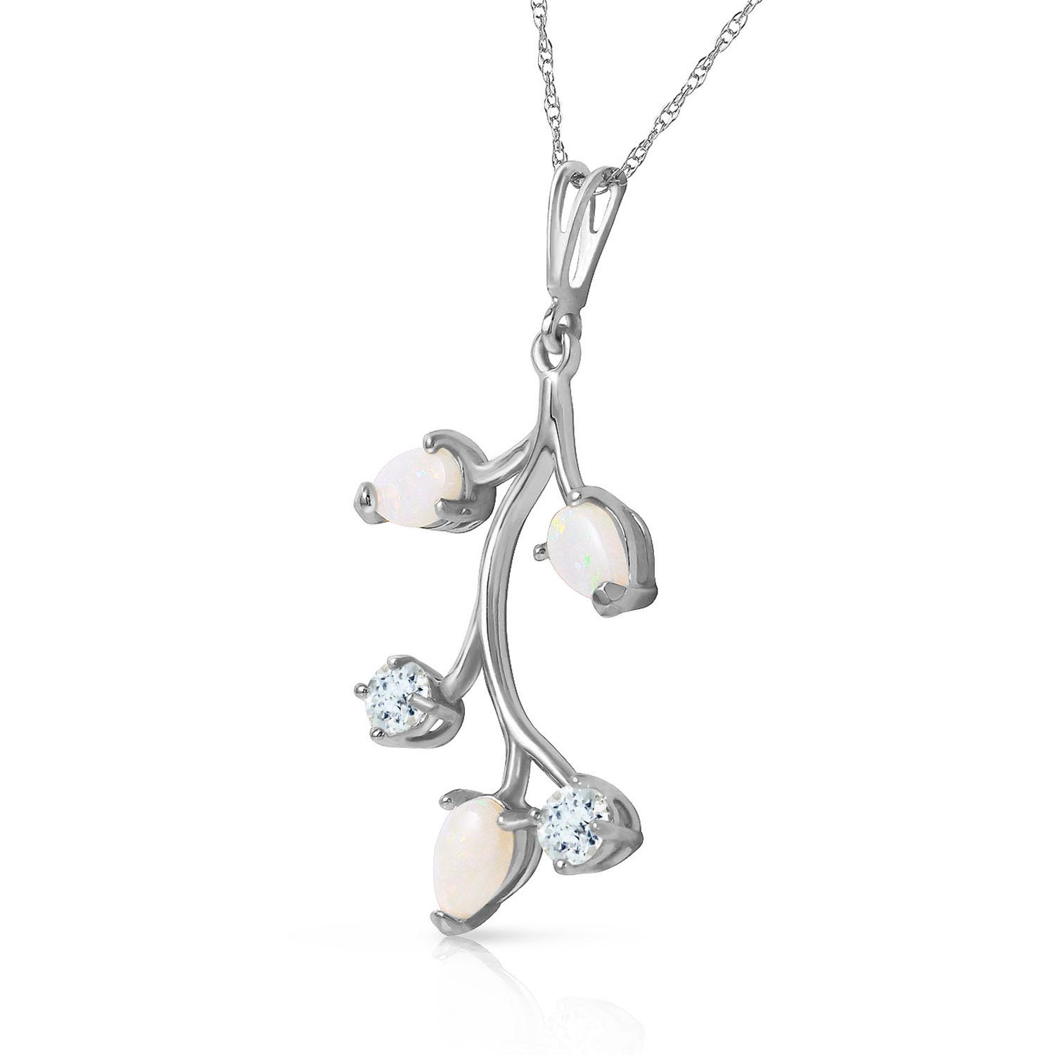 Opal and Aquamarine Vine Pendant Necklace 0.6ctw in 9ct White Gold