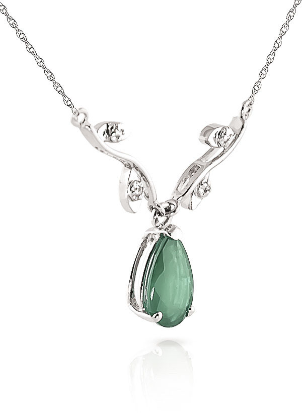 Emerald and Diamond Vine Branch Pendant Necklace 1.0ct in 9ct White Gold