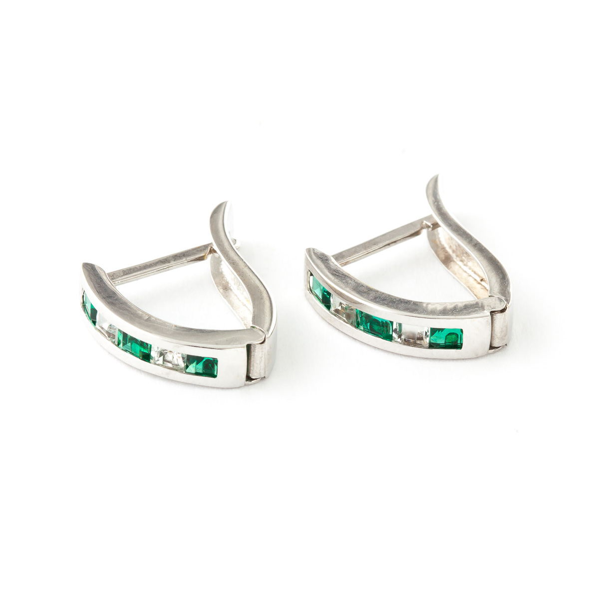 Emerald and White Topaz Acute Huggie Earrings 1.26ctw in 9ct White Gold
