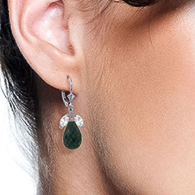 Emerald and White Topaz Snowdrop Earrings 18.6ctw in 9ct White Gold