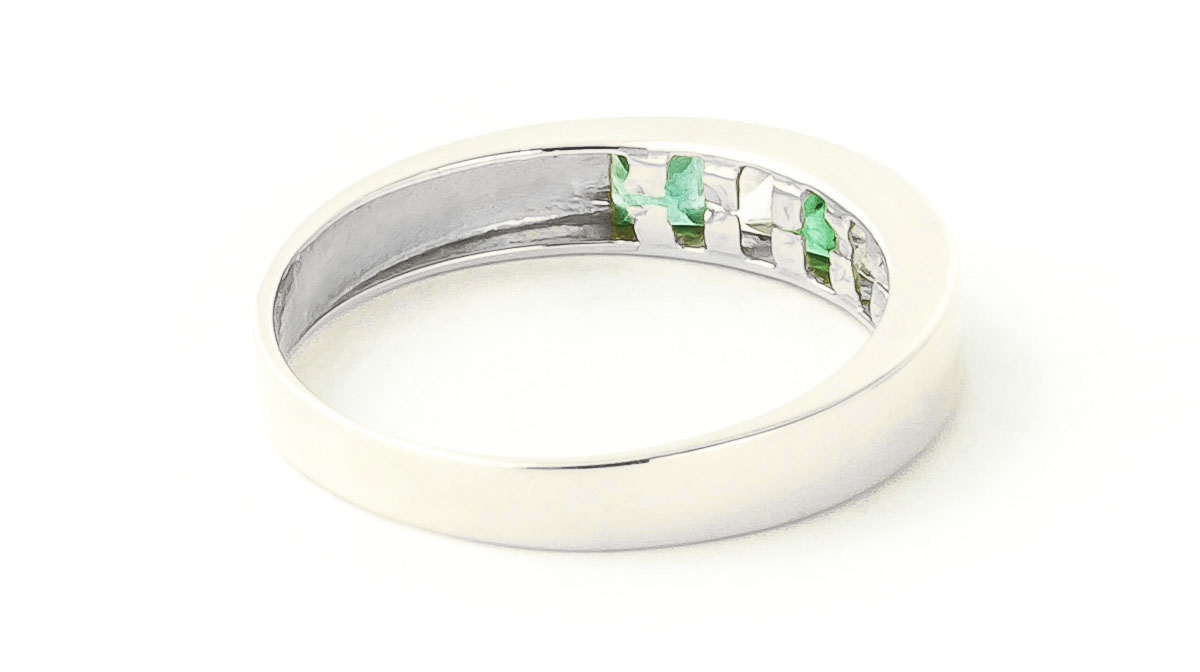 Emerald and White Topaz Ring 0.78ctw in 9ct White Gold