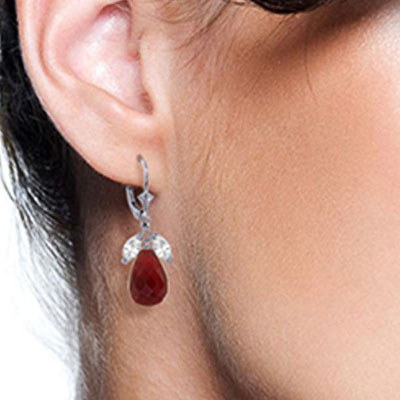Ruby and White Topaz Snowdrop Earrings 18.6ctw in 9ct White Gold