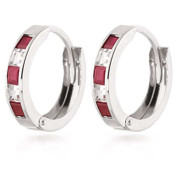 Ruby and White Topaz Huggie Earrings 1.26ctw in 9ct White Gold