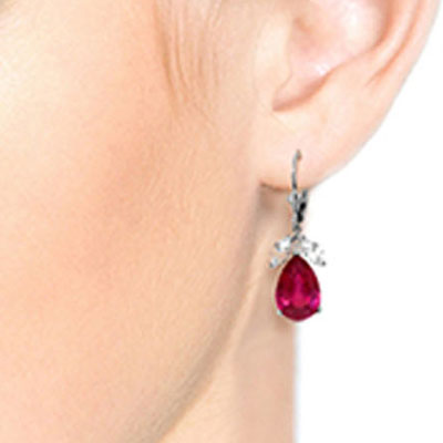 Ruby and White Topaz Drop Earrings 10.0ctw in 9ct White Gold