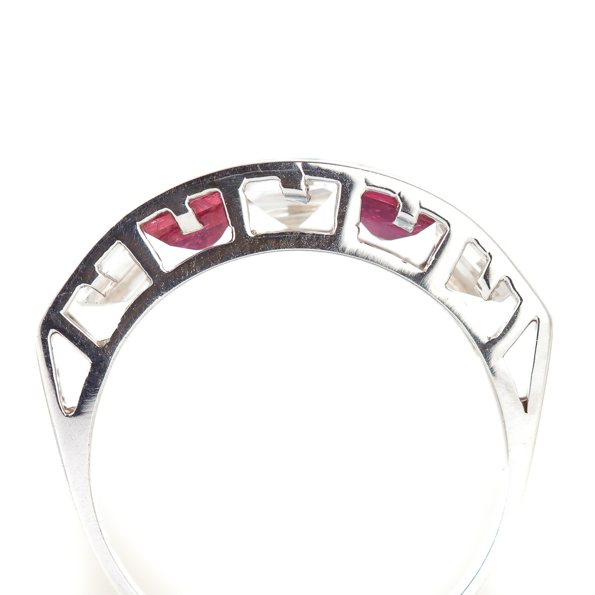 Ruby and White Topaz Ring 2.35ctw in 9ct White Gold