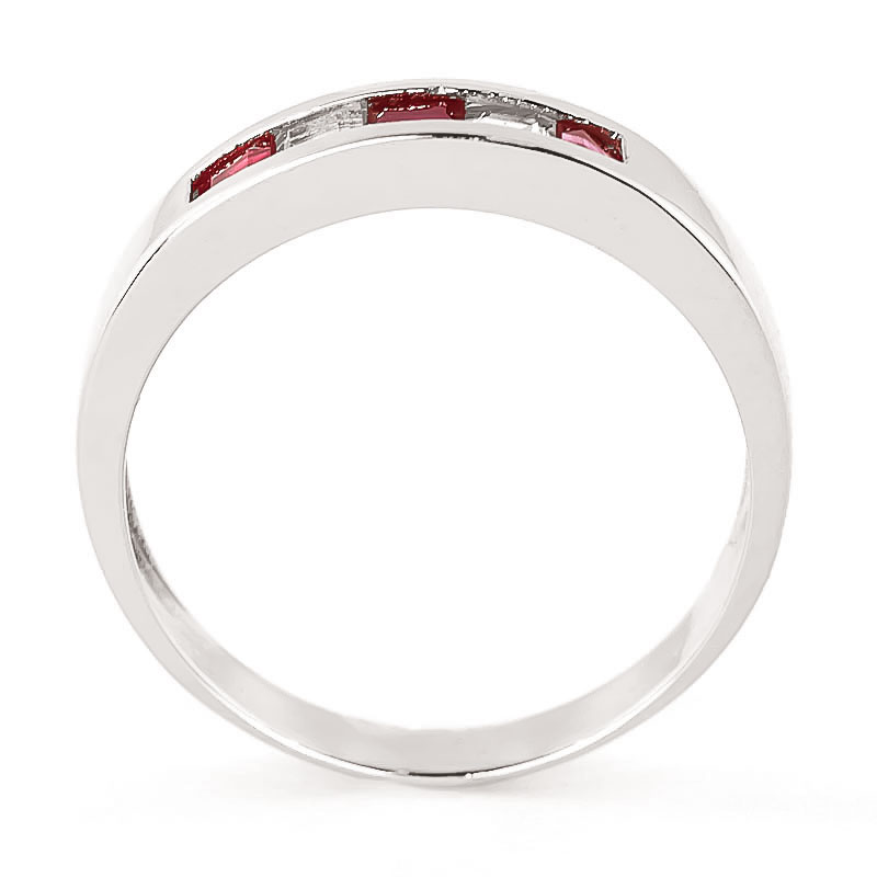 Ruby and White Topaz Ring 0.78ctw in 9ct White Gold