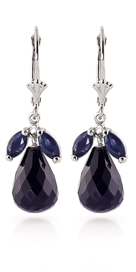 Sapphire and White Topaz Snowdrop Earrings 18.6ctw in 9ct White Gold