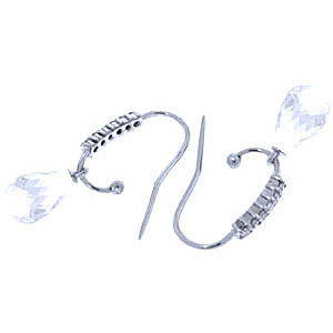 Diamond and White Topaz Stem Droplet Earrings in 9ct White Gold