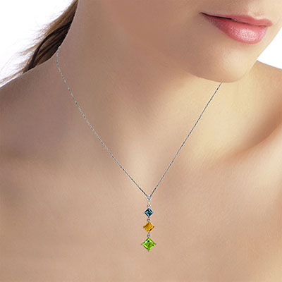 Peridot, Blue Topaz and Citrine Three Stone Pendant Necklace 2.4ctw in 9ct White Gold