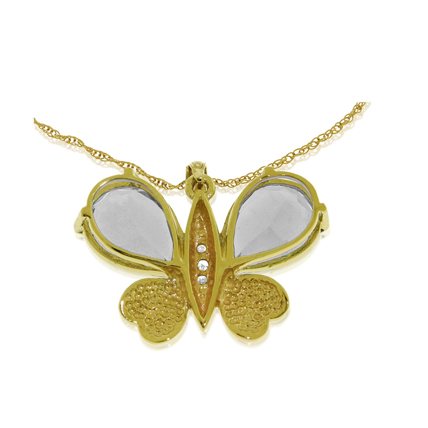 White Topaz & Diamond Butterfly Pendant Necklace in 9ct Gold