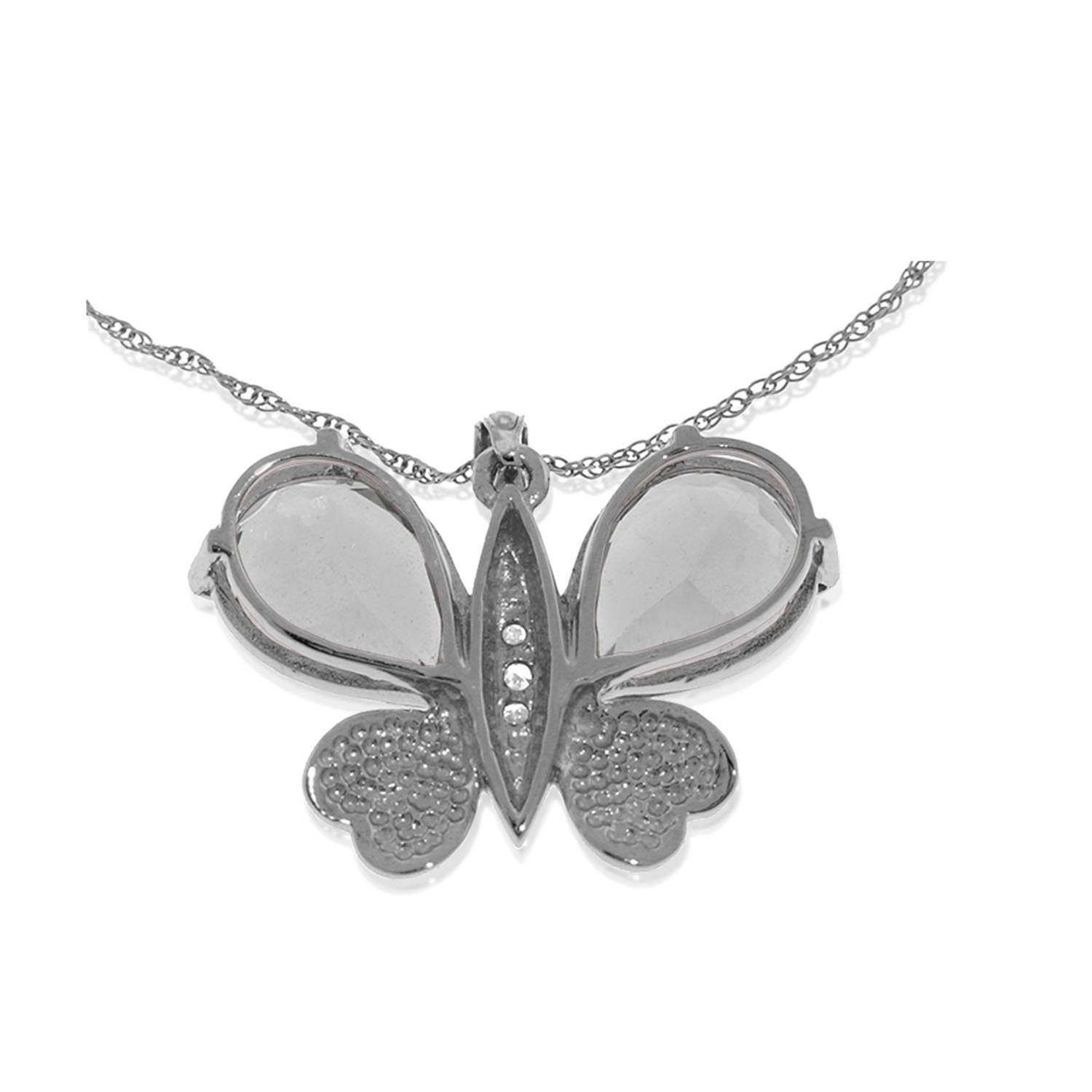 White Topaz & Diamond Butterfly Pendant Necklace in 9ct White Gold