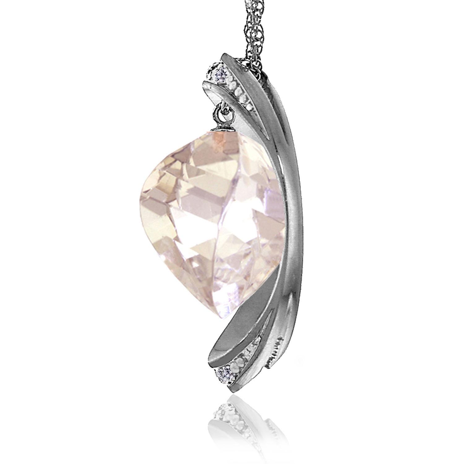 White Topaz & Diamond Pendant Necklace in 9ct White Gold