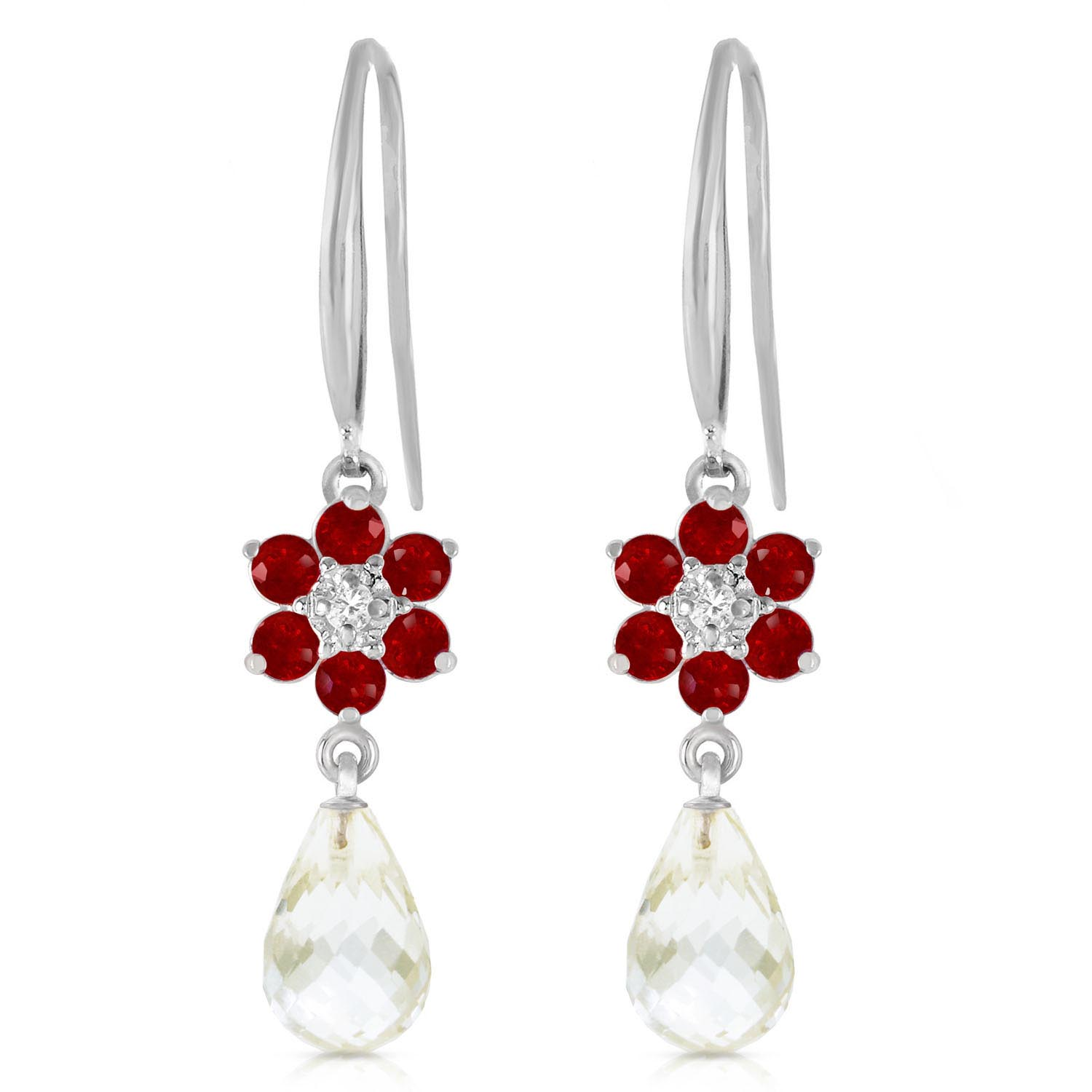 White Topaz, Diamond & Ruby Daisy Chain Drop Earrings in 9ct White Gold