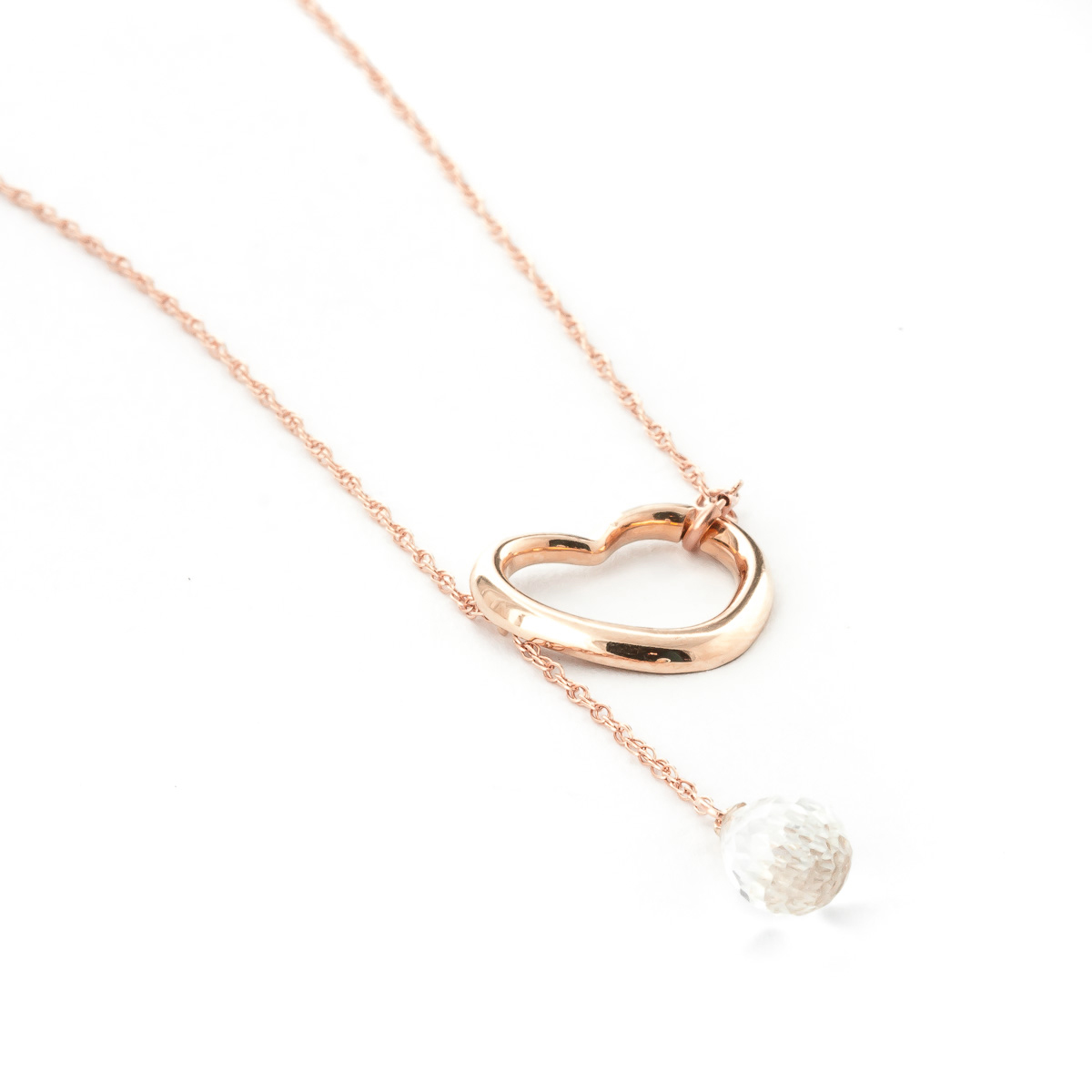 White Topaz Heart Drop Pendant Necklace 2.25 ct in 9ct Rose Gold