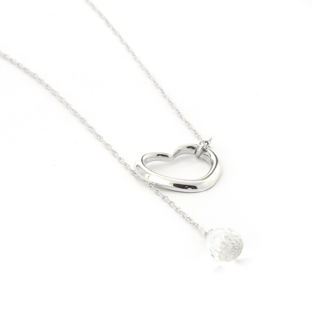 White Topaz Heart Drop Pendant Necklace 2.25 ct in 9ct White Gold