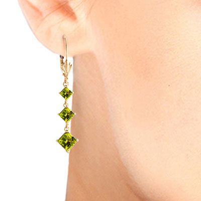 Peridot Three Stone Drop Earrings 4.79 ctw in 9ct Gold