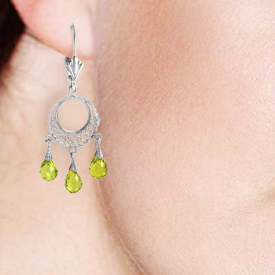 Peridot Trilogy Drop Earrings 3.75 ctw in 9ct White Gold