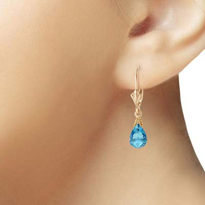 Blue Topaz Droplet Earrings 4.5 ctw in 9ct Gold