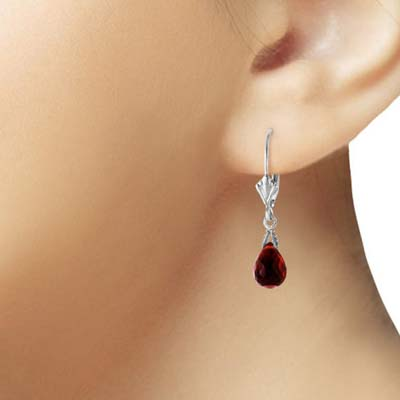 Garnet Droplet Earrings 4.5 ctw in 9ct White Gold