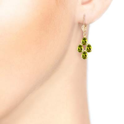 Peridot Drop Earrings 4.5 ctw in 9ct Gold