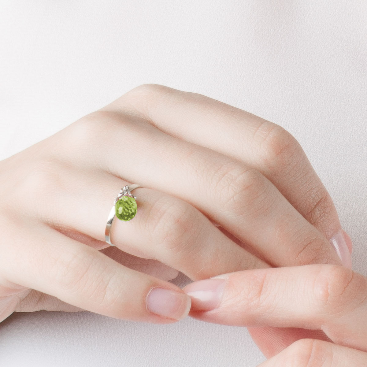 Peridot & Diamond Droplet Ring in Sterling Silver