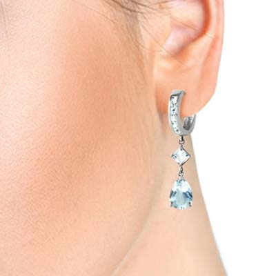 Aquamarine Droplet Huggie Earrings 5.62 ctw in 9ct White Gold